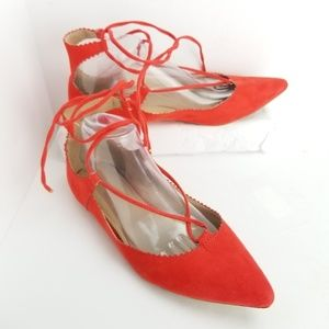 Topshop Ballet Flats Size 9 Red Ankle Lace up Shoe